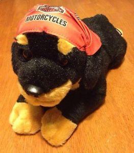 Harley Davidson Rottweiler Plush Black Dog Bandanna Motorcycle 14