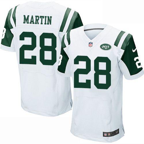 1e8c8daa1c5 Nike Elite Curtis Martin White Men's Jersey - New York Jets #28 NFL Road