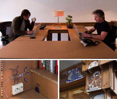 Creative Office Interior Room Made From Cardboard Material