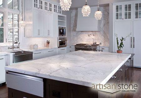 White Quartz Countertop Artisan Stone Bianco Carrara Marble