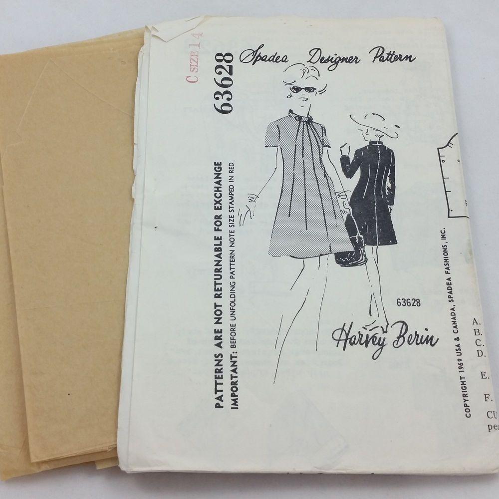 Vintage Harvey Berin Spadea Designer Pattern 63628 Ladies A-Line Dress Size 14 #SpadeaDesignerPatterns