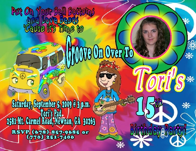 HIPPIE PERSONALIZED PHOTO BIRTHDAY INVITATIONS | 70 s birthday party ...