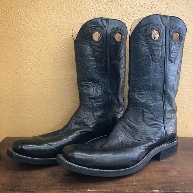 "2fc9edde3da7 CLEARANCE! Size 13A. 13"" Black Kidskin uppers, Black Belly Ostrich vamps,  Beck Classic Stitching in Black, a wide French Square toe, and a…"
