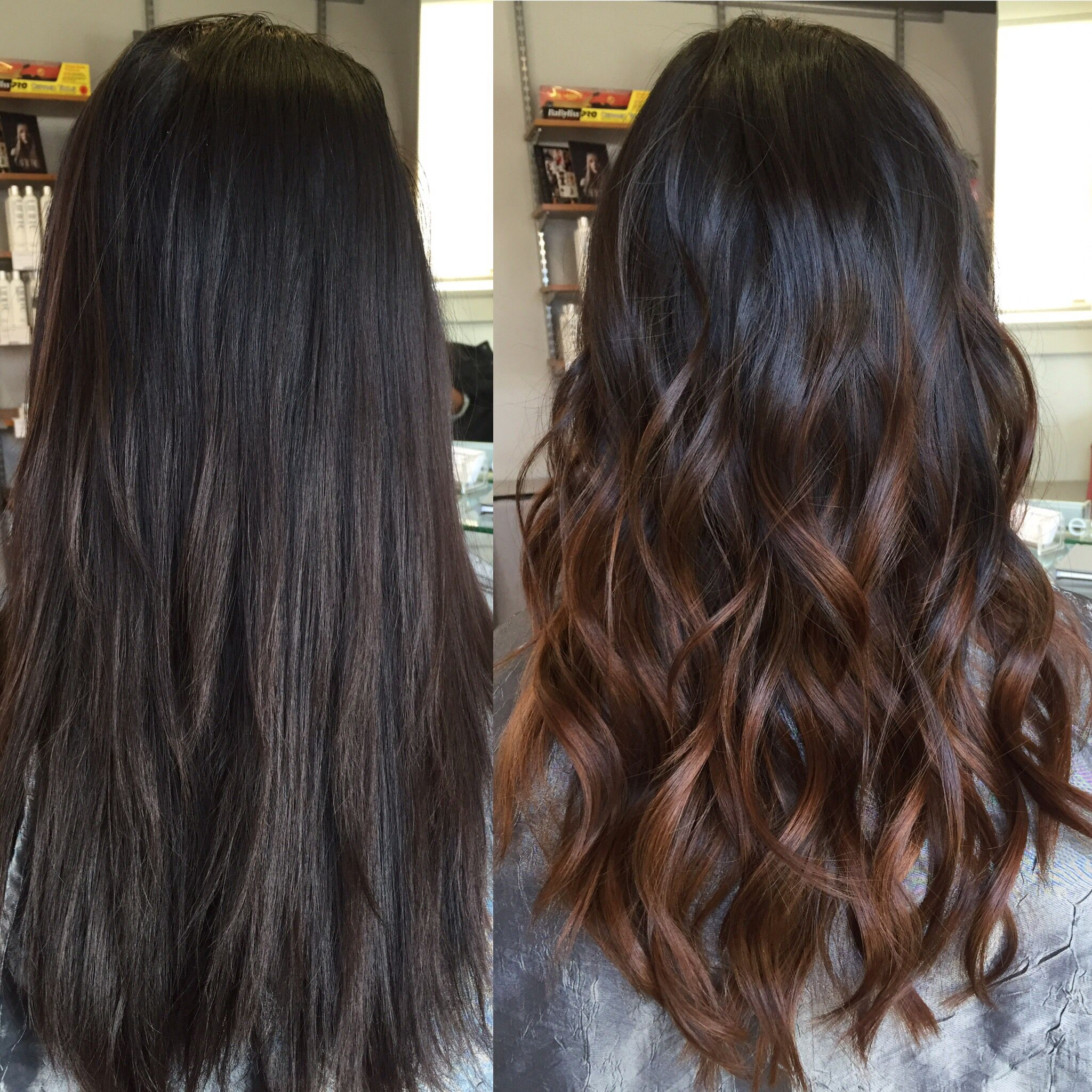 Hair Painting Balayage To Create Soft Subtle Sunkissed Color On My Client Cabelo Cabelo Preto Cabelo Preto Com Luzes