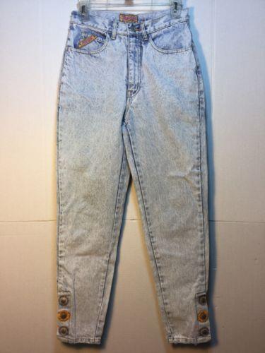 51fca3fe8a0 Vintage-80s-Jordache-Acid-Wash-Women-039-s -Jeans-Size-9-10-High-Waist-26-Button-Legs