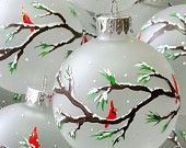 Christmas Ornament, Cardinals on Branches, Snowing, hand painted on frosted glass