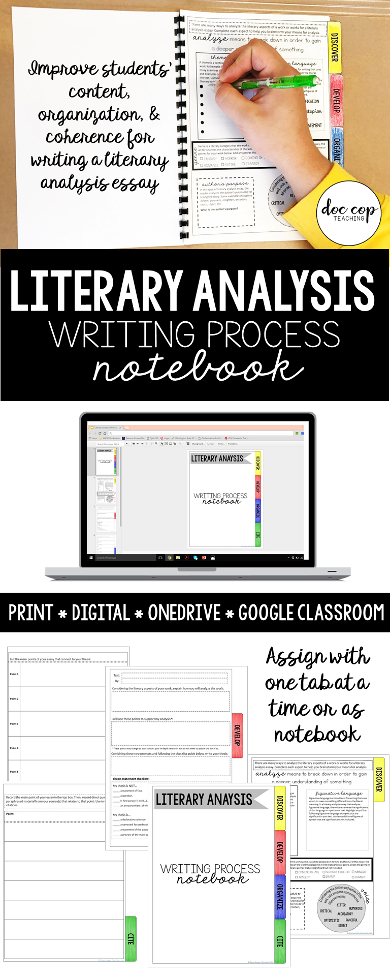 Literary Analysis Writing Process Notebook  Students School And