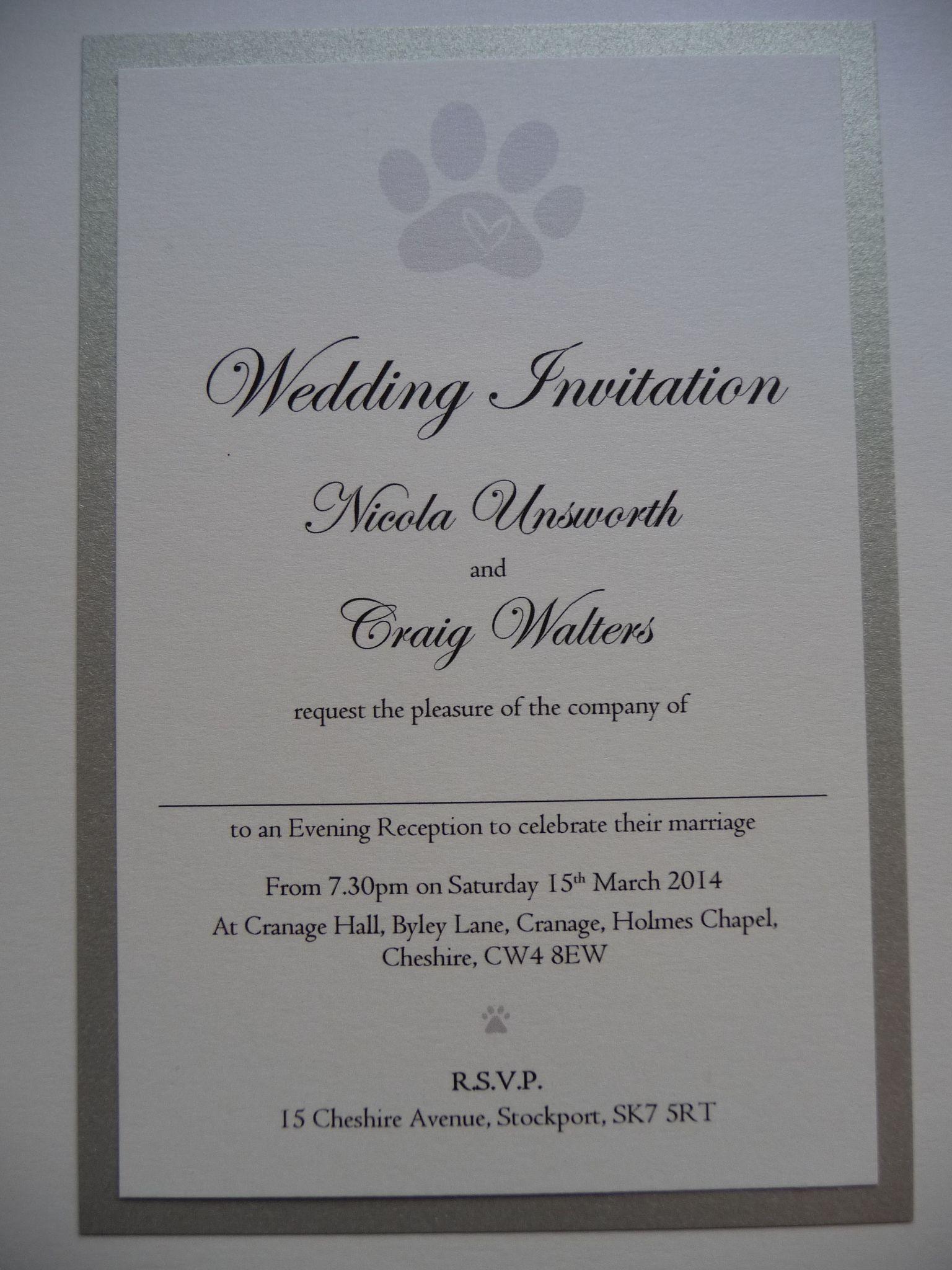 Silver White Cute Paw Print Themed Wedding Invitations Vestidos