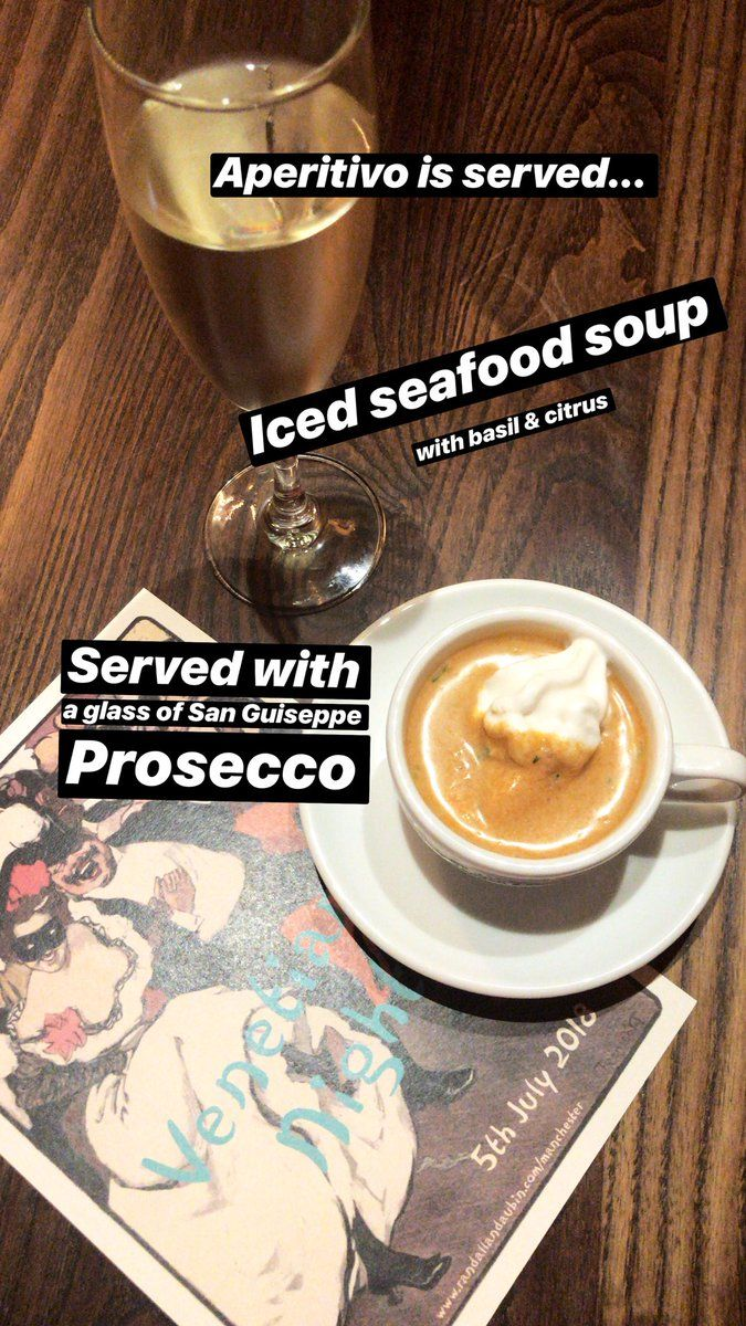 the aperitivo is served iced seafood soup with basil