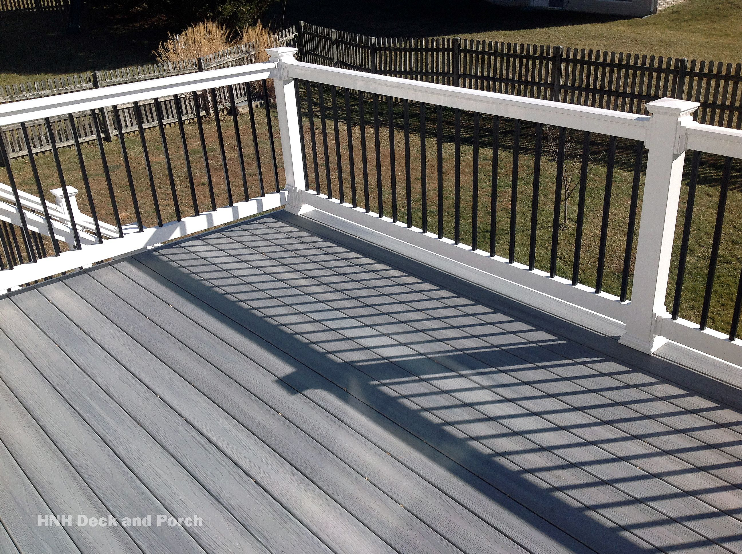 composite deck using @fiberondecking castle grey decking with