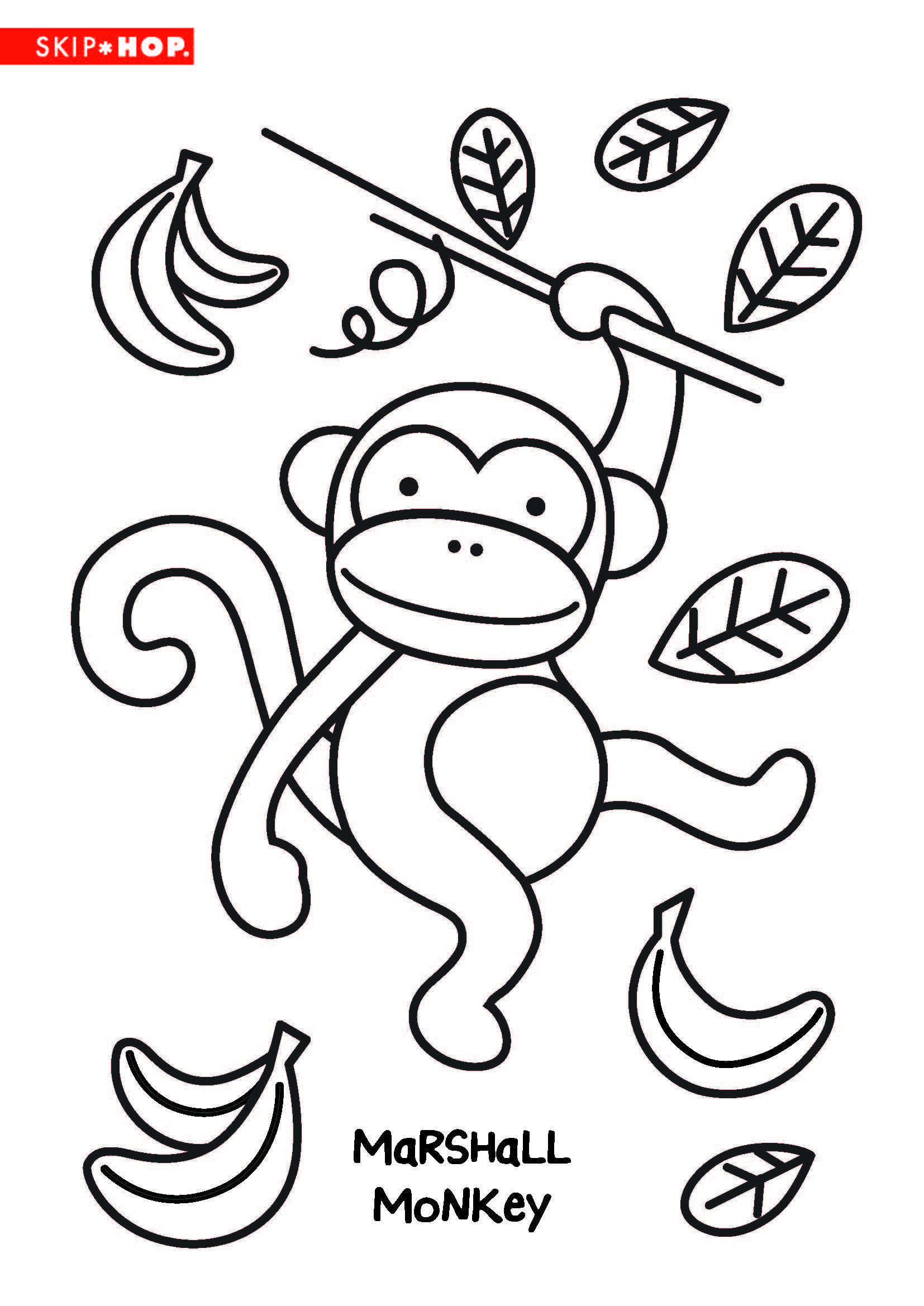 Marshall Monkey Coloring Sheet Kids Coloring Books Fun Crafts For Kids Kids Coloring Book