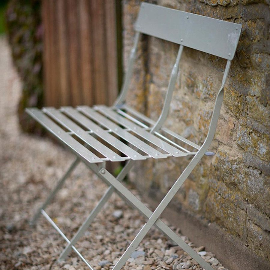 Chic Folding Metal Garden Bistro Bench In Clay