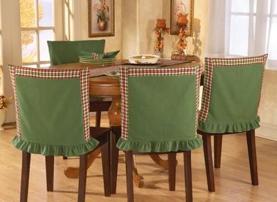 Red Green Plaid Chair Back Covers