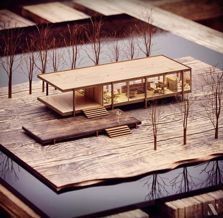 Farnsworth House Mies Van Der Rohe 3D model and