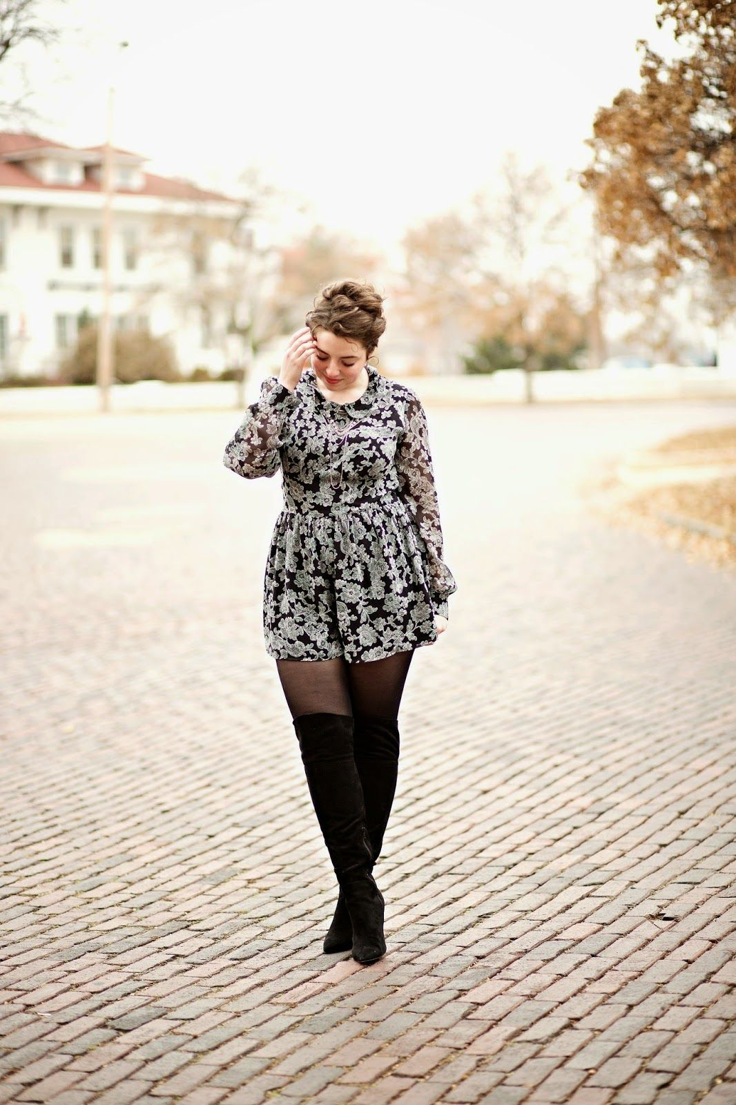 Floral Romper with tights for winter The Adored Life