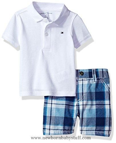b63e65e6d Baby Boy Clothes Tommy Hilfiger Baby Boys' 2 Pieces Polo and Plaid Short  Sets, White, 3/6M
