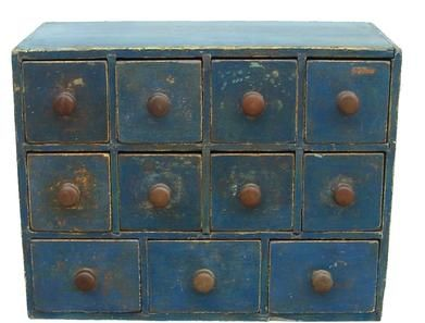 """Z134 New England 19th century eleven drawer Apothecary, in old blue paint,wonderful drawer lay out, all drawers are square head nail construction, the case is one board construction, all the original knobs, circa 1840 -1850 18"""" wide x 13 3/4"""" tall x 9"""" deep"""