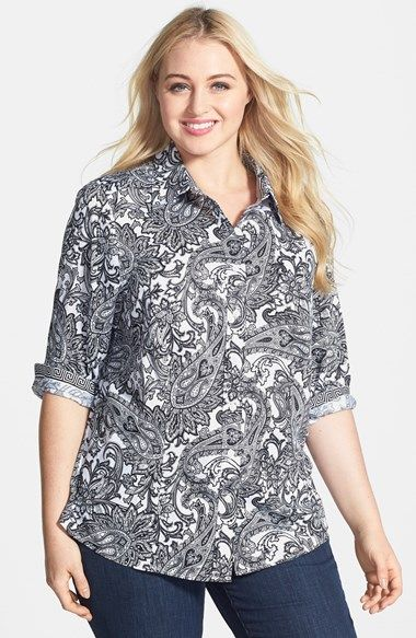7b31ea61bca Foxcroft  Santorini  Paisley Print Wrinkle Free Cotton Shirt (Plus Size)  available at  Nordstrom