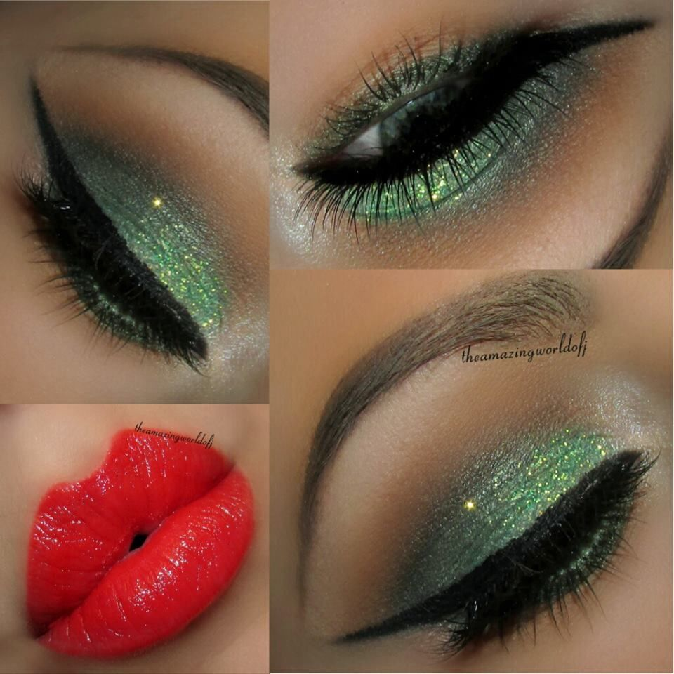 Just In Time For Christmas Green Eye Makeup And Red Lips