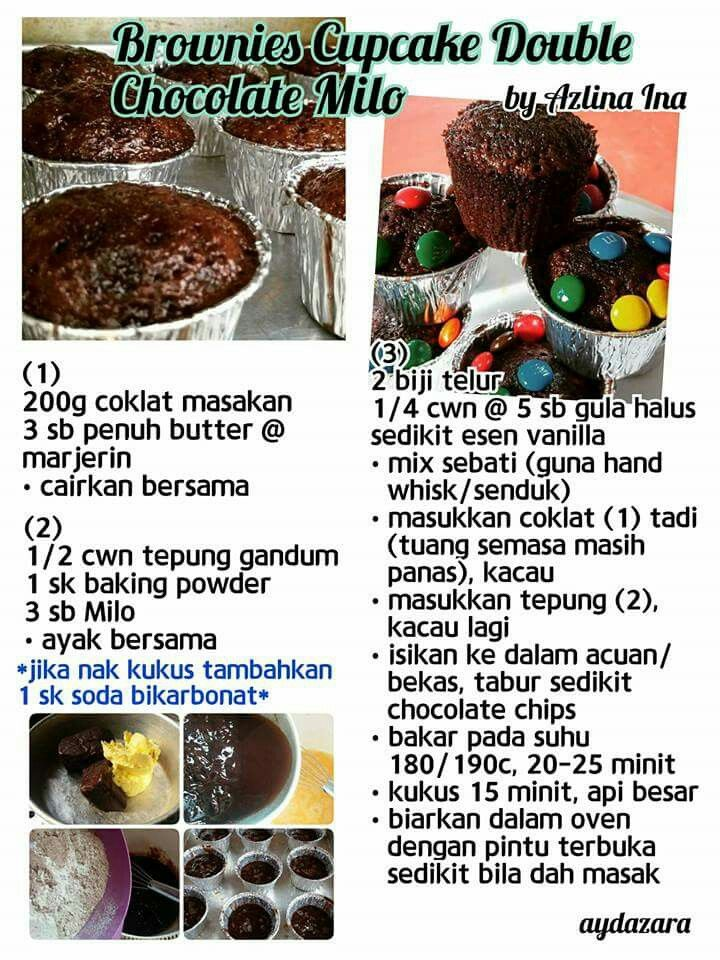 Brownies Cupcake Double Chocolate Milo Brownie Cake Recipe Cake Recipes Brownie Cake