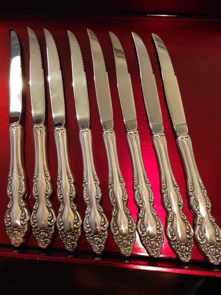Set 8 Steak Knives Silverplate Flatware 1881 Rogers Oneida