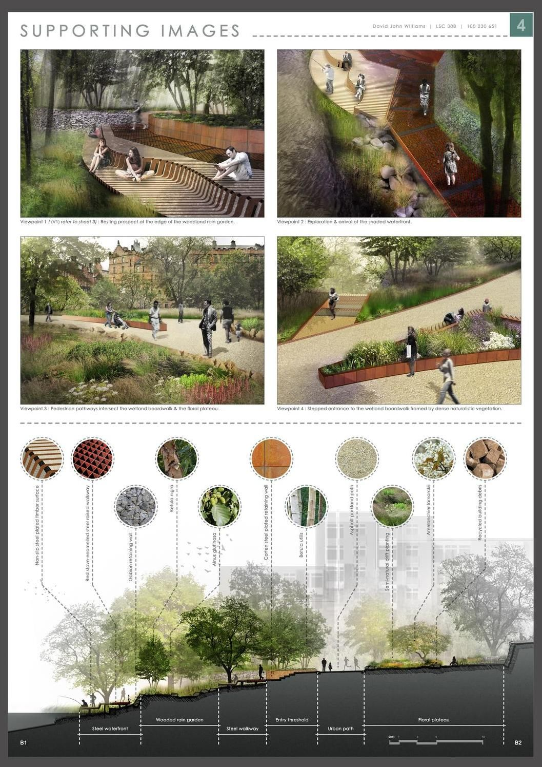 These Presentation Boards Display The Concept Masterplanning And Design Detailing For Landscape Architecture Design Architecture Presentation Landscape Design