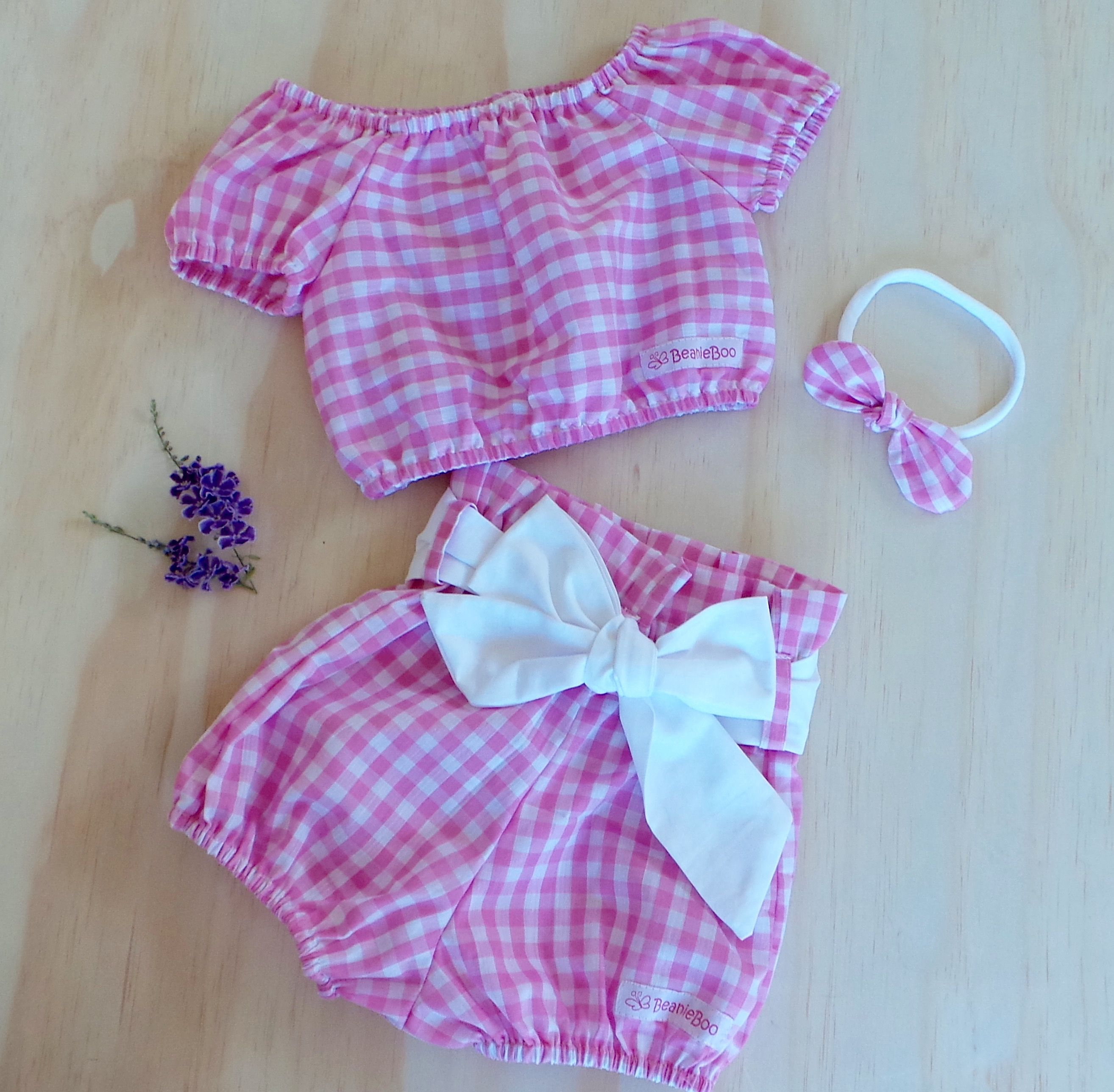 Gingham Crop and Ruffle Bloomer Set Available in sizes 0000 - 5.