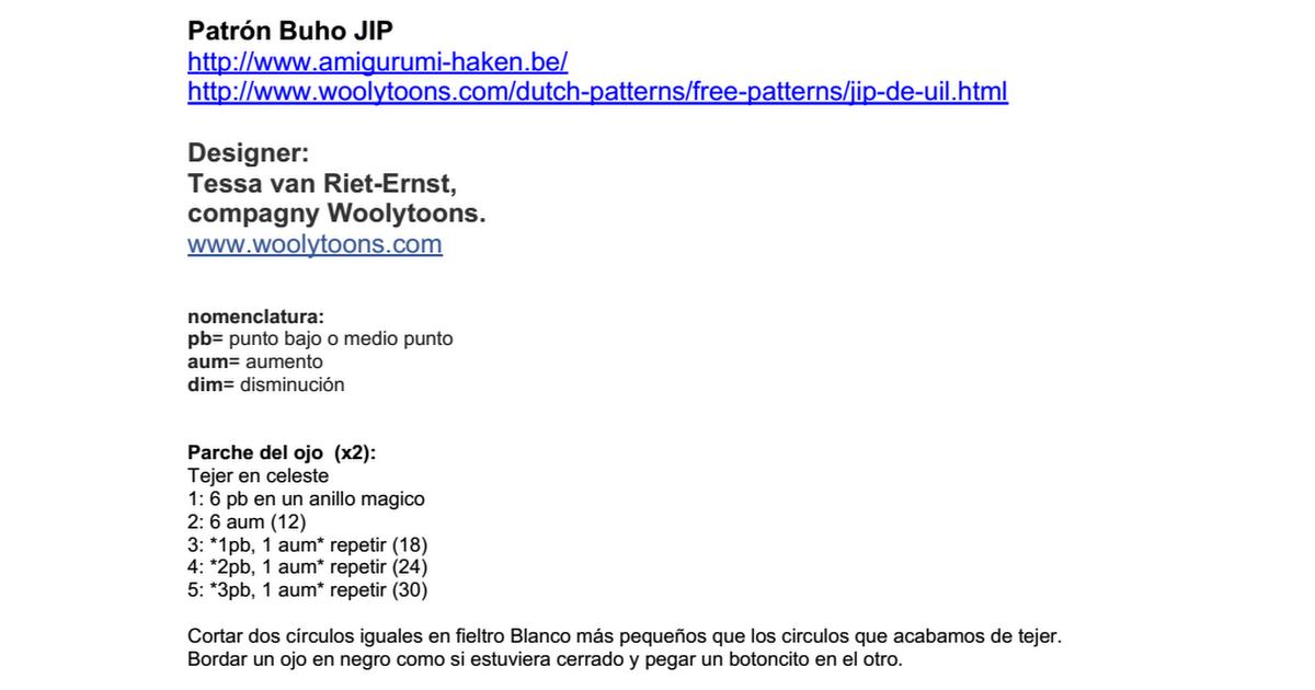 Patrón Buho JIP.doc   tati   Pinterest   Amigurumi patterns, Crochet ...