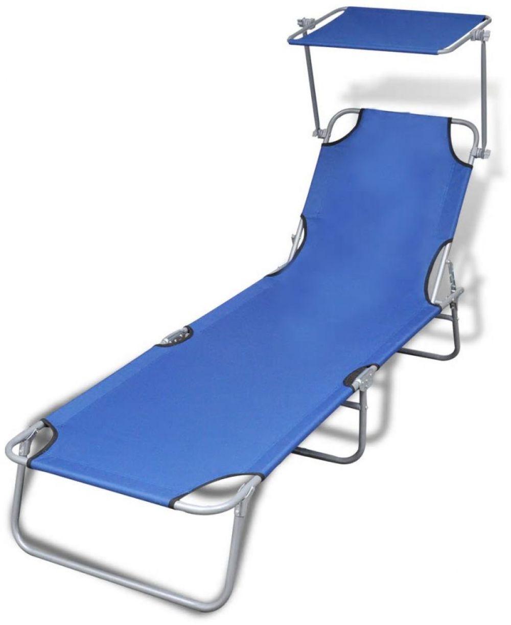 Garden sun lounger foldable with canopy patio outdoor blue