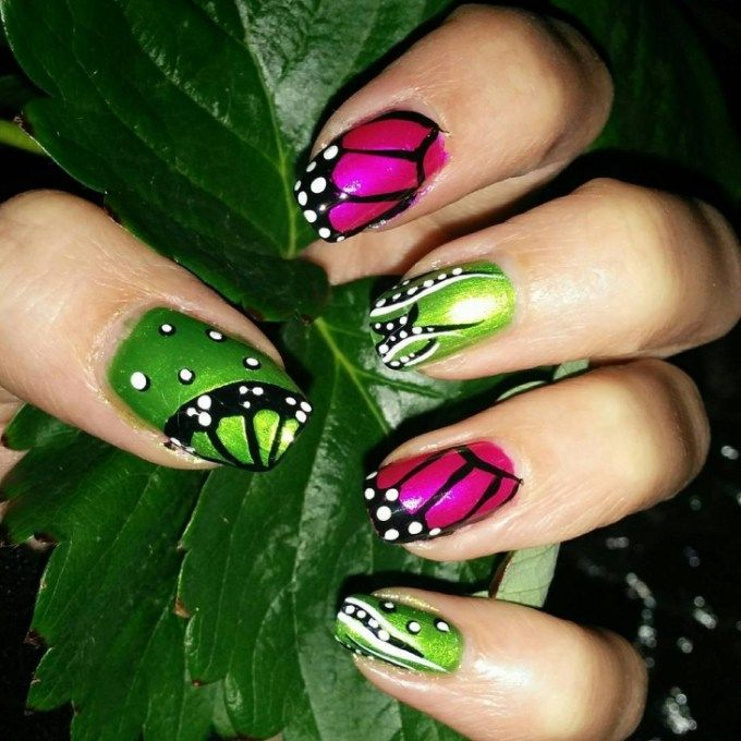 Top 38 Cute Butterfly Nail Art Designs 2018 | Diseños para uñas ...