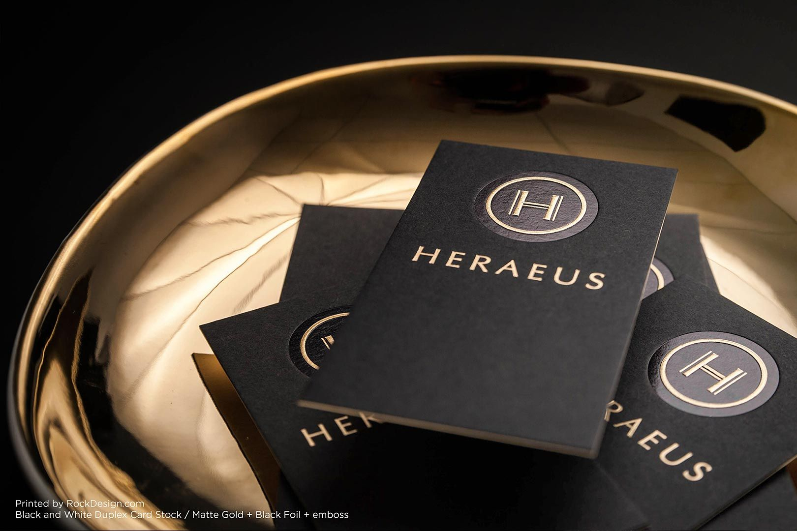 Black and white foil stamped embossed great business card design - Heraeus | RockDesign Luxury Business Card Printing