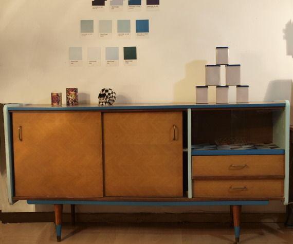 Bahut vintage rénové, enfilade, rangement, commode, meuble rétro - Magasin De Meubles Plan De Campagne