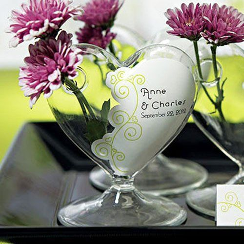 Mini Blown Glass Heart Vases With Personalized Vase Clings Katy H