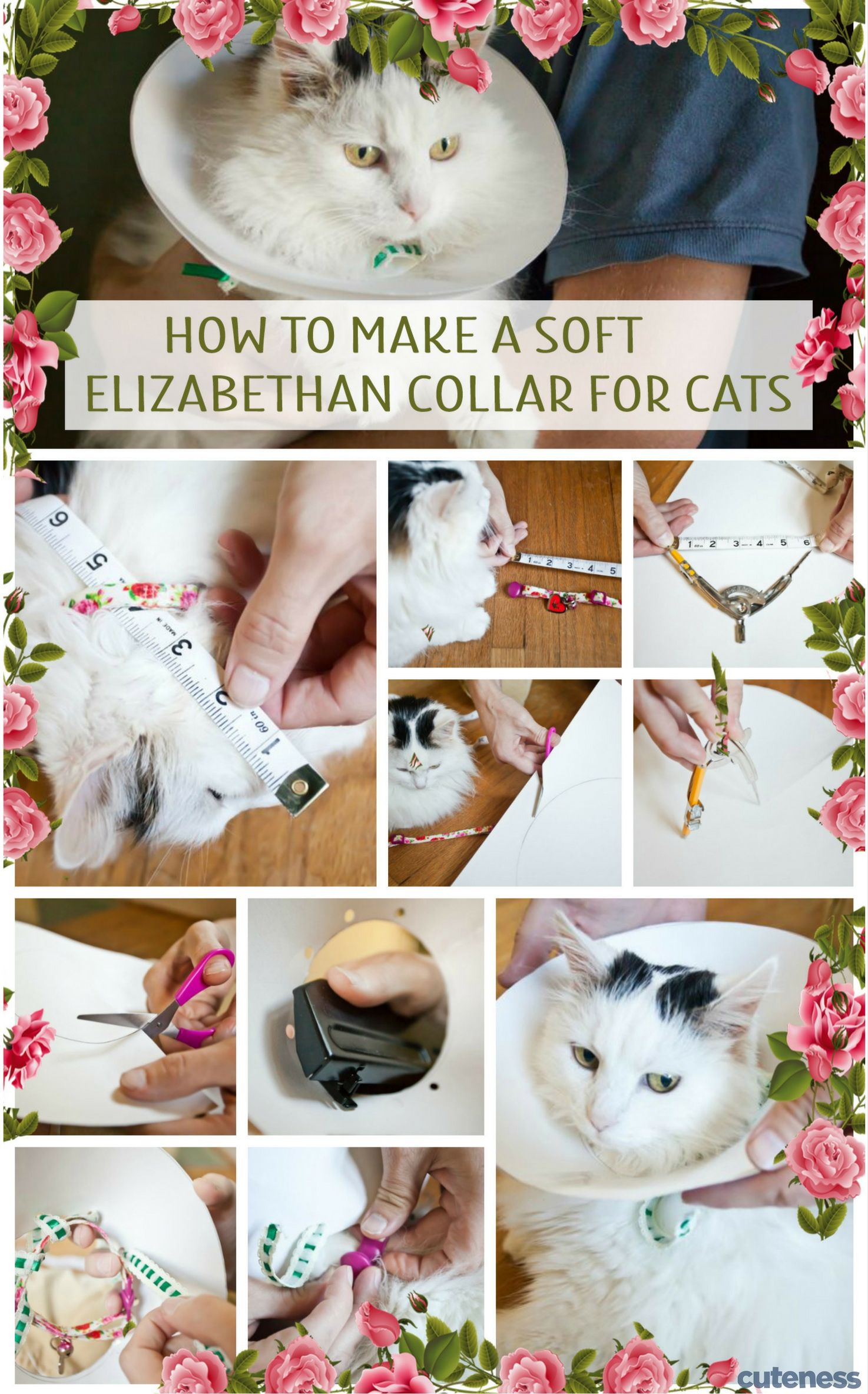 How To Make A Soft Elizabethan Collar For Cats Cat Collars Diy