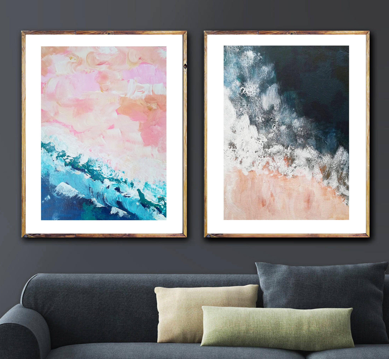 Blush Pink Nautical Print Set Navy Ocean Art Navy Blue Wall Art