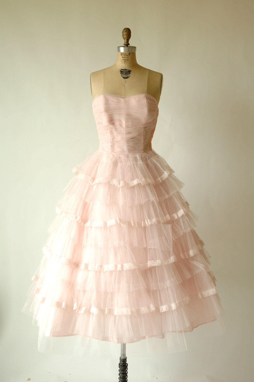 S pink prom dress vintage strapless tulle dress dream