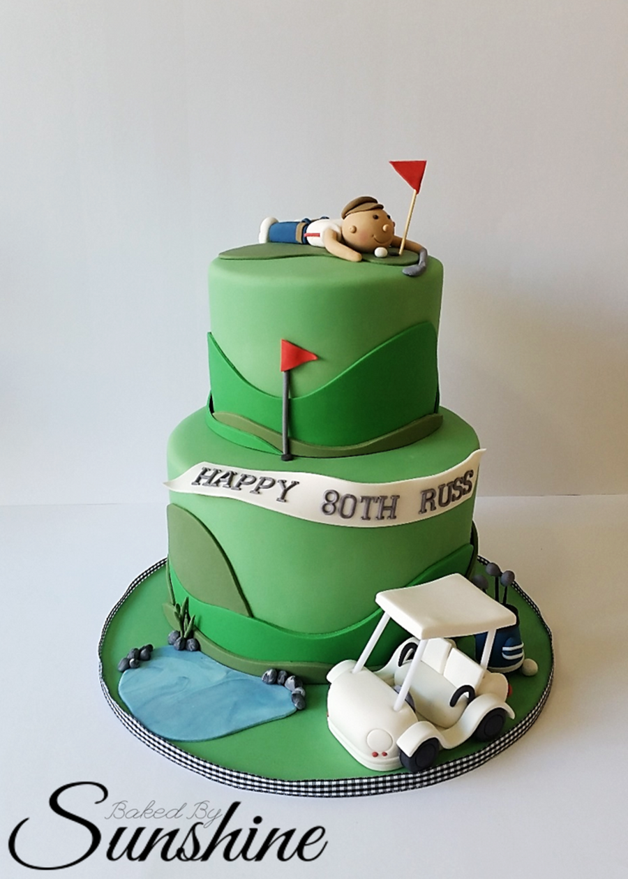Groovy Surprise Golf Themed Cake For An 80Th Birthday Golf Birthday Birthday Cards Printable Trancafe Filternl