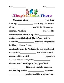 Homophones Their There They Re Kindergarten Math Worksheets Grammar Lessons Learning Games For Kids