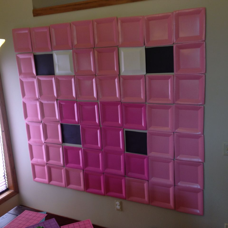 Buy some pink square paper plates and make a really cool wall mural. Guests saw this when they arrived and it set the tone for the whole party. & Minecraft pig party mural! Buy some pink square paper plates and ...