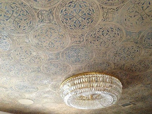 Stenciled Ceiling With Modern Masters Metallic Plaster