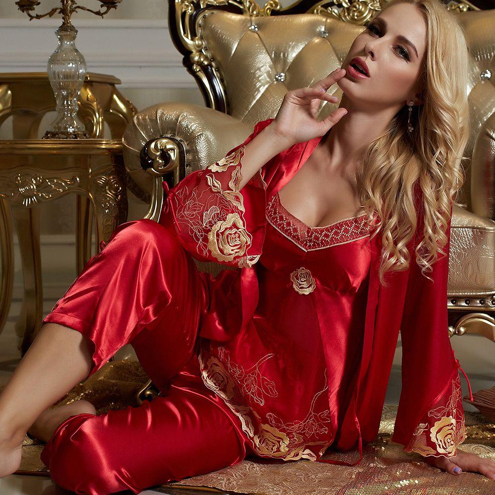 XIFENNI Brand Women Satin Silk Pajamas Red Three-Piece Pyjama Sets Lace  Embroidery Imitation Silk Pijamas Femininos 1535 08e745cb0
