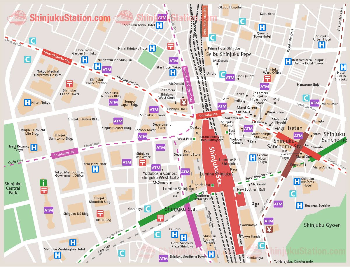 Shinjuku Station Map Shinjuku Station Map | Japan Station in 2019 | Japan travel, Map  Shinjuku Station Map