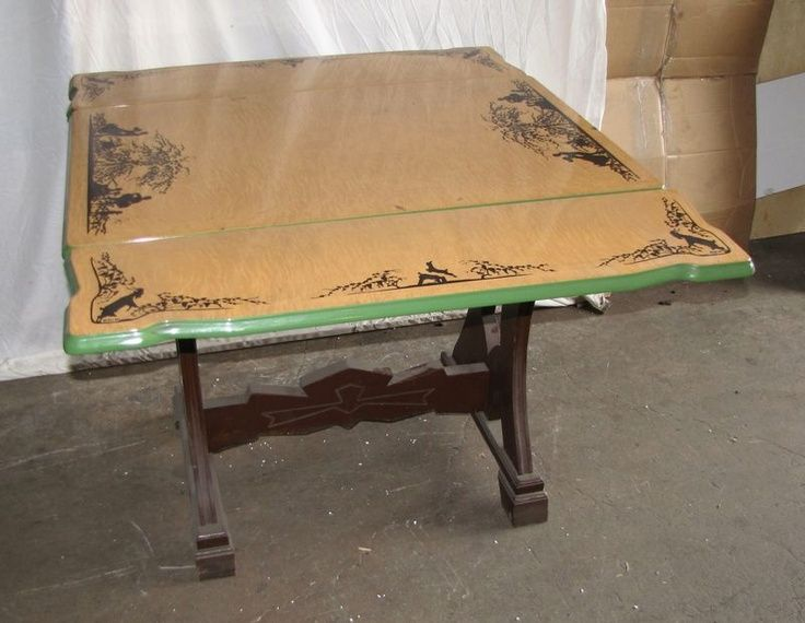 Vintage Mochi Porcelain Enamel Top Kitchen Table With Wood Trestle Hyeriders