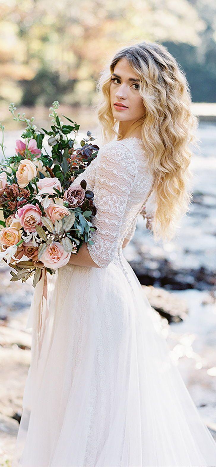 Soft romantic boho lace sleeved wedding dress by allurebridals