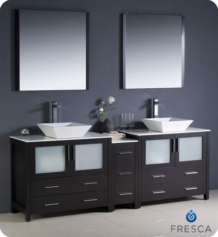 Fresca Torino Espresso Modern Double Sink Bathroom Vanity - Modern double sink bathroom vanity cabinets