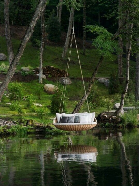 OMG! LOVE! Hanging bed over water. Probably not practical where I live with all the crocs.