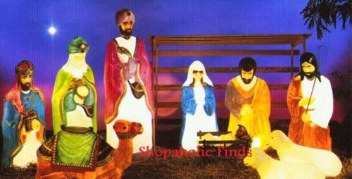 New 10pc Life Size Nativity Scene Plastic Christmas Blow Mold Lot