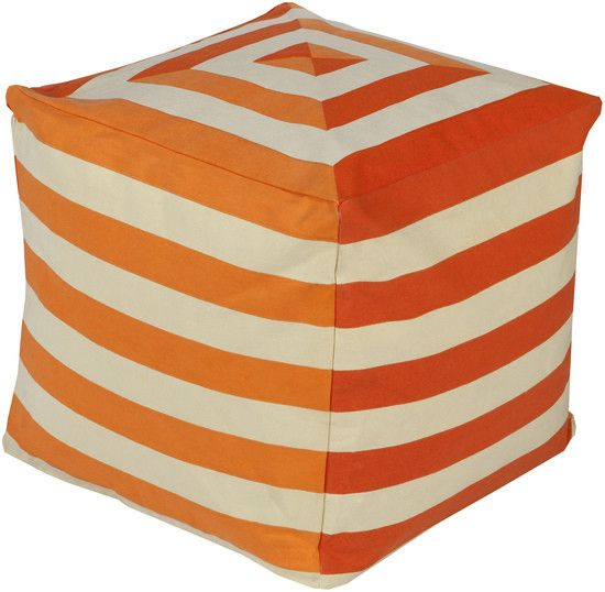 Bold Stripe Pouf Cube Ottoman- Orange | Scenario Home