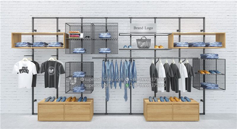 Custom Unique Modular Wall Mounted Clothing Rack For Retail Shop For Retail Shop Store Display Design M Wall Mounted Clothing Rack Clothing Rack Modular Walls