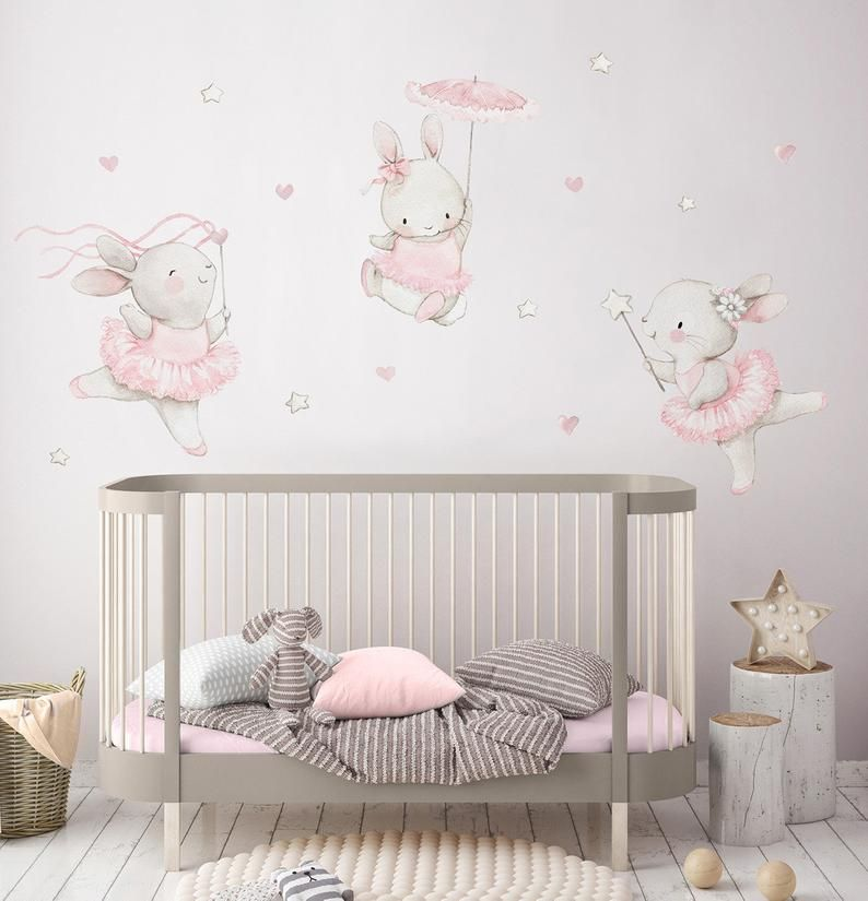 "Photo of Fabric Wall Decal ""BALLERINAS"" Nursery wall decal, Watercolor wall decals, Bunny wall decal, ballerinas decal, Pink nursery art, Aida Zamora"